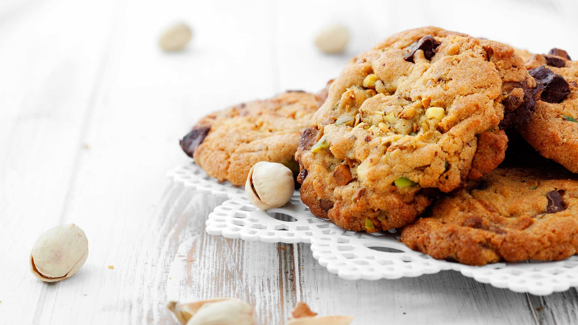 Homemade chocolate chip cookies with pistachios.