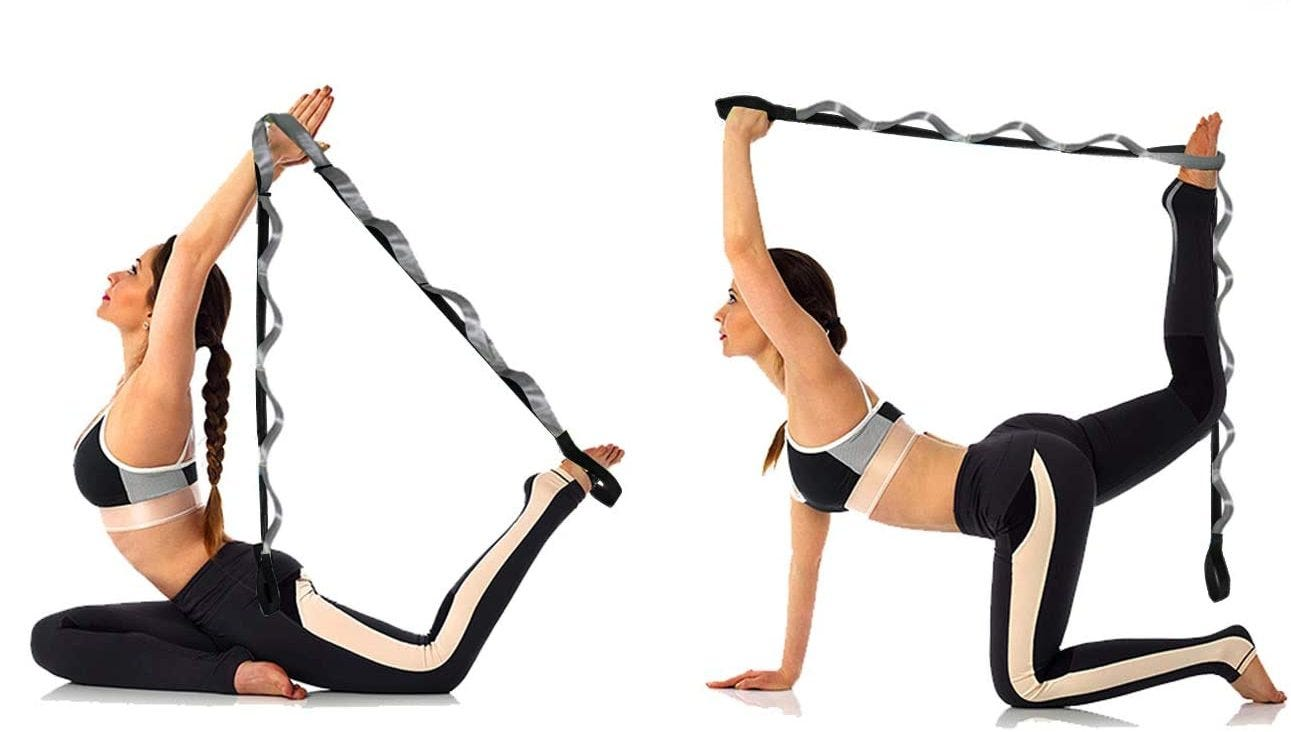 Woman stretching with a looped stretching band.