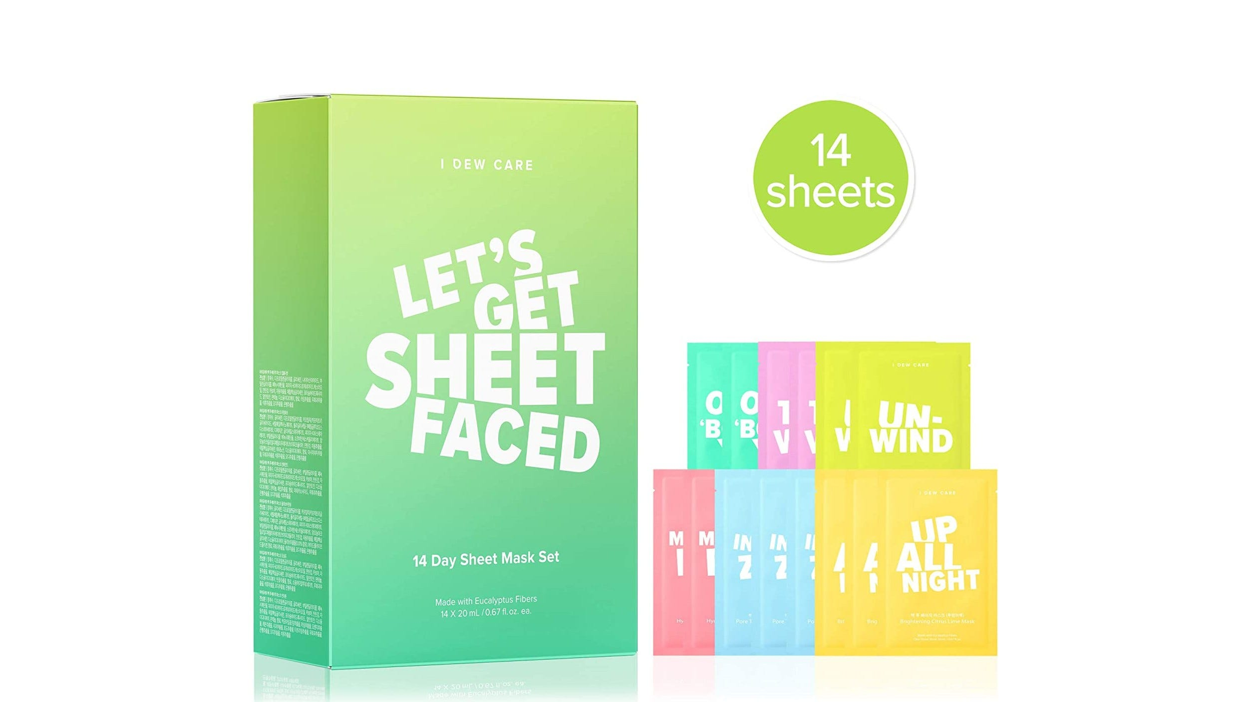 I Dew Care Let's Get Sheet Faced Mask Packs and box.