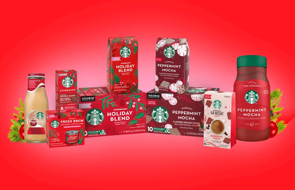 Packages of Starbucks Holiday Blend coffees.