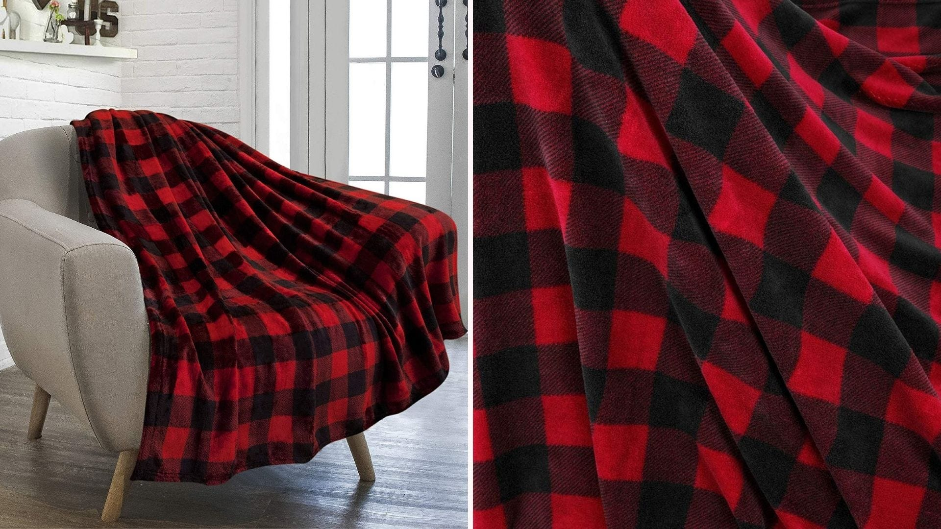 A buffoalo check plaid throw on a chair with a closeup of the pattern and fabric.