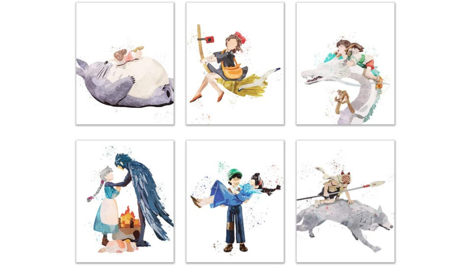 Six watercolor prints, including scenes from Studio Ghibli fims like My Neighbor Totoro, Kiki's Delivery Service, Spirited Away, Howls Moving Castle, Laputa: Castle in the Sky and Princess Mononoke.