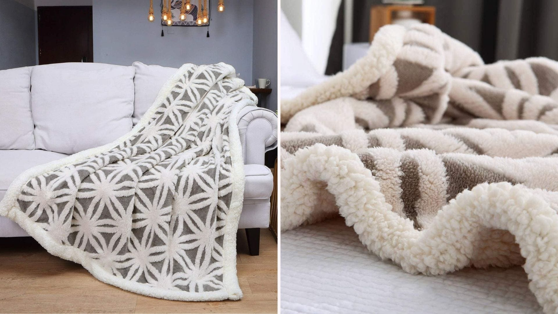 A sherpa blanket throw over a couch with a closeup view of the soft texture.