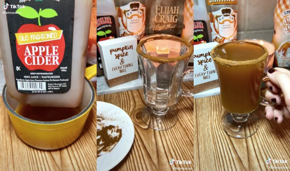 Three images showing the ingredients of Pumpkin Caramel Hard Cider.