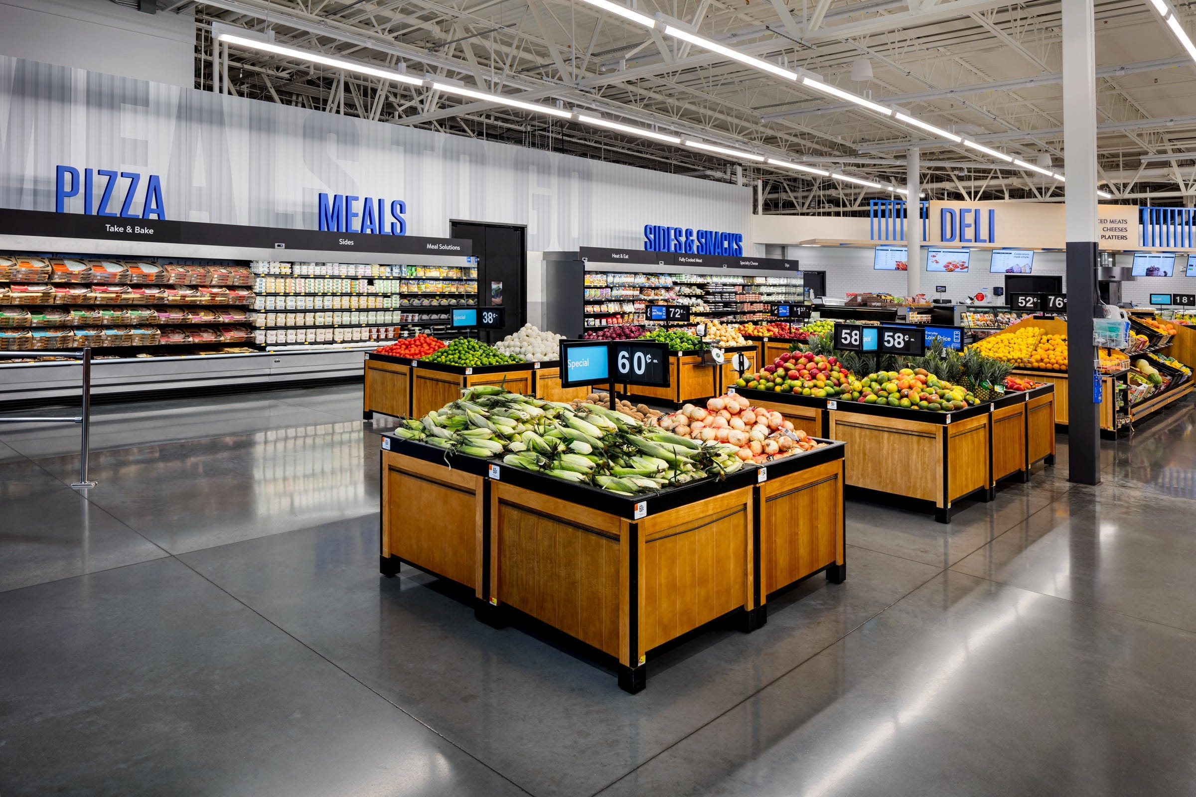 A produce section at Walmart.