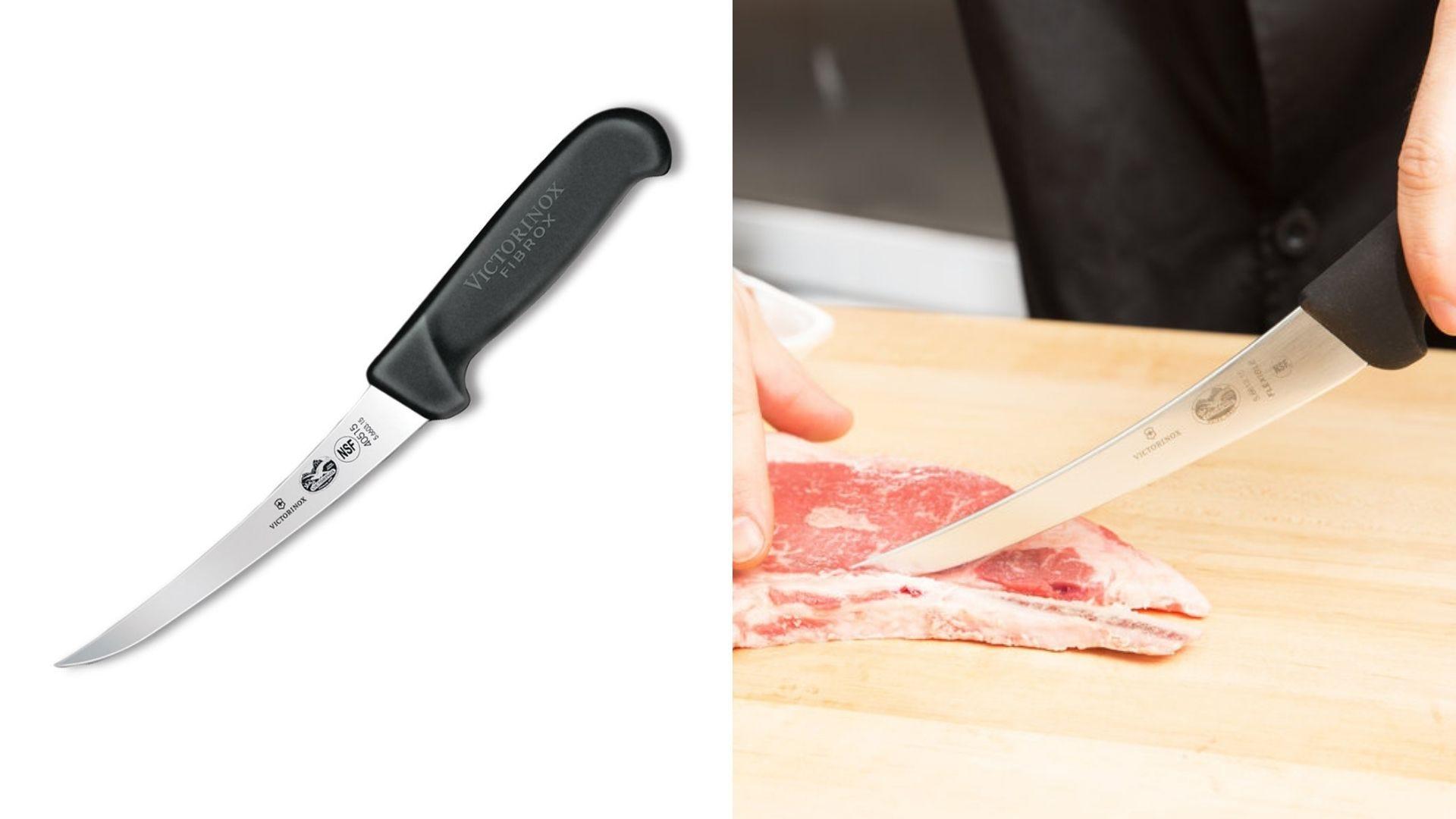 A flexible boning knife.