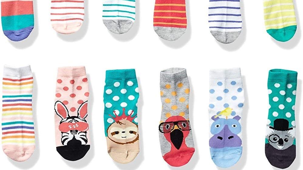 Cute kids socks with animals.