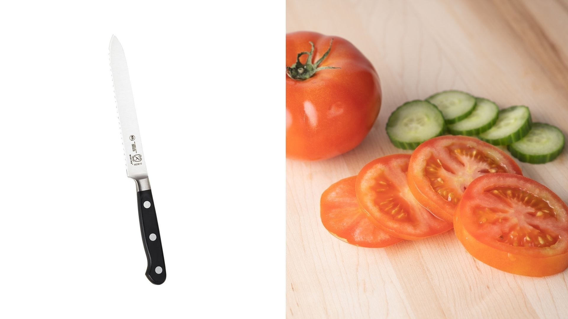 A tomato knife and sliced tomatoes.