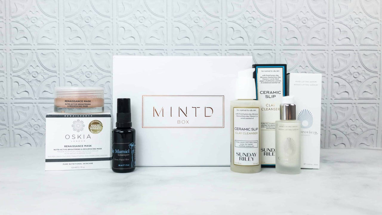 Mintd beauty subscription box filled with luxury items.