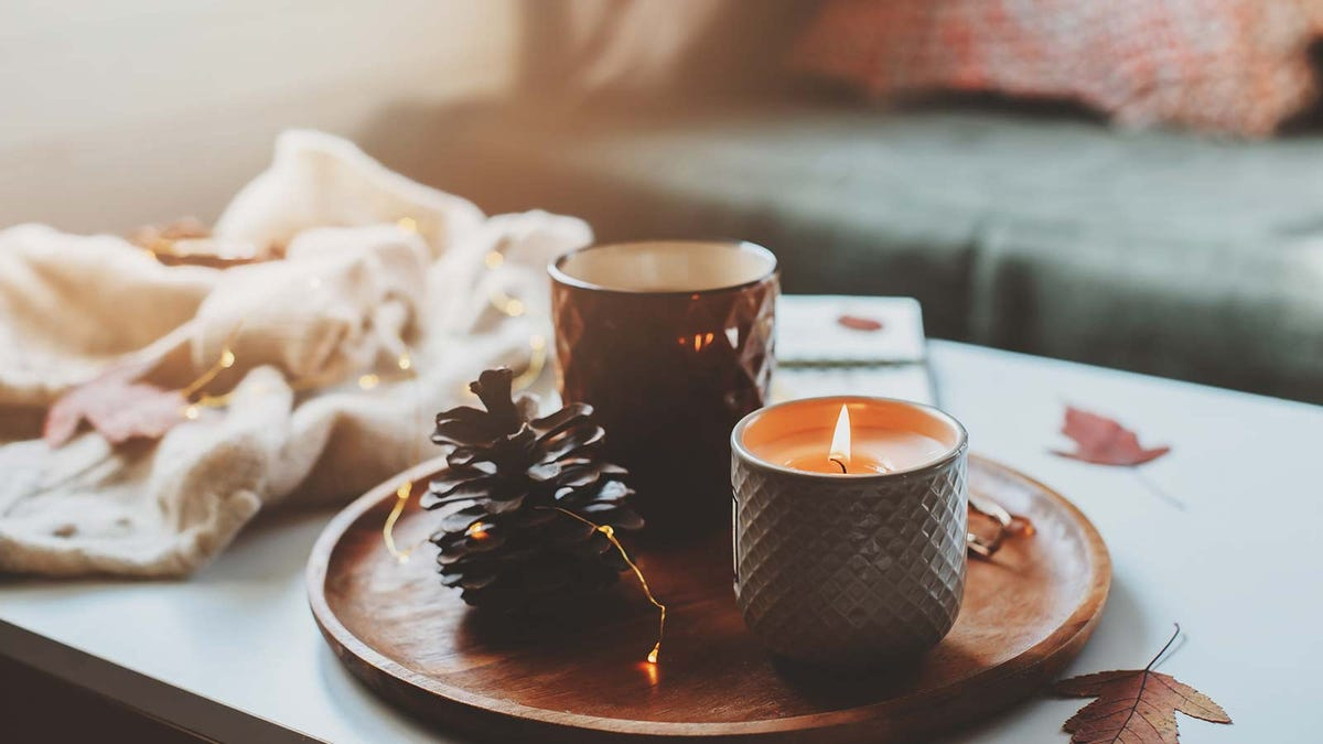 Two fall-scented candles on a wooden platter with a pine cone.