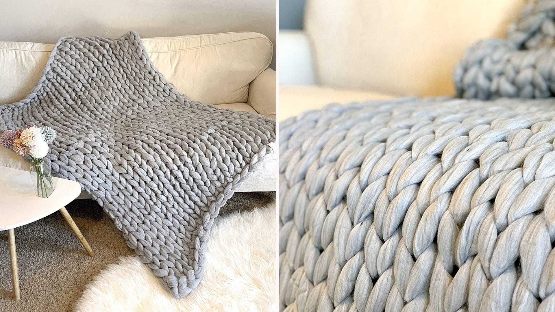 A chunky and soft knitted blanket.