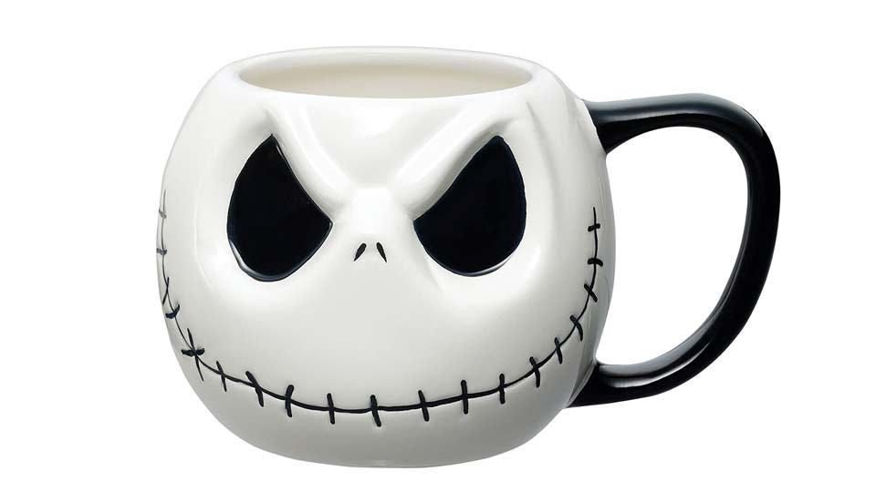 """A mug shaped like the face of Jack Skellington from """"The Nightmare Before Christmas."""""""