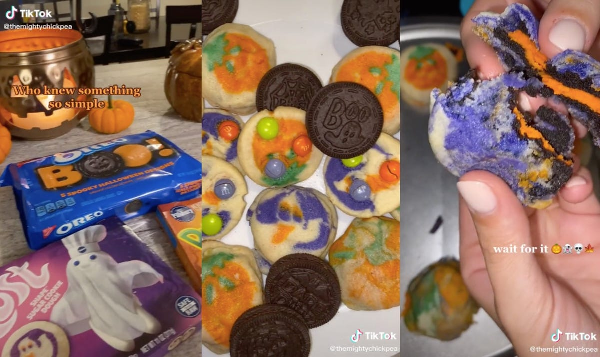 A package of Halloween Oreos, sugar cookies, and a combo cookie.