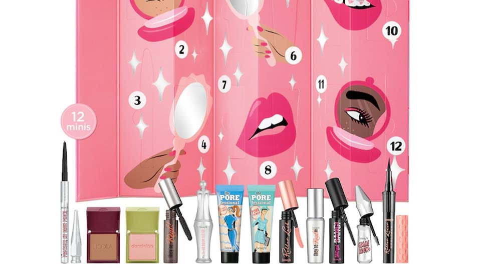 Examples of the items, like pore primer and eyeliner, found inside the Benefit makeup calendar.