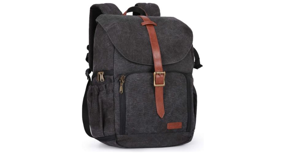 Camera Bag Made of Dark Brown Water Resistant Canvas
