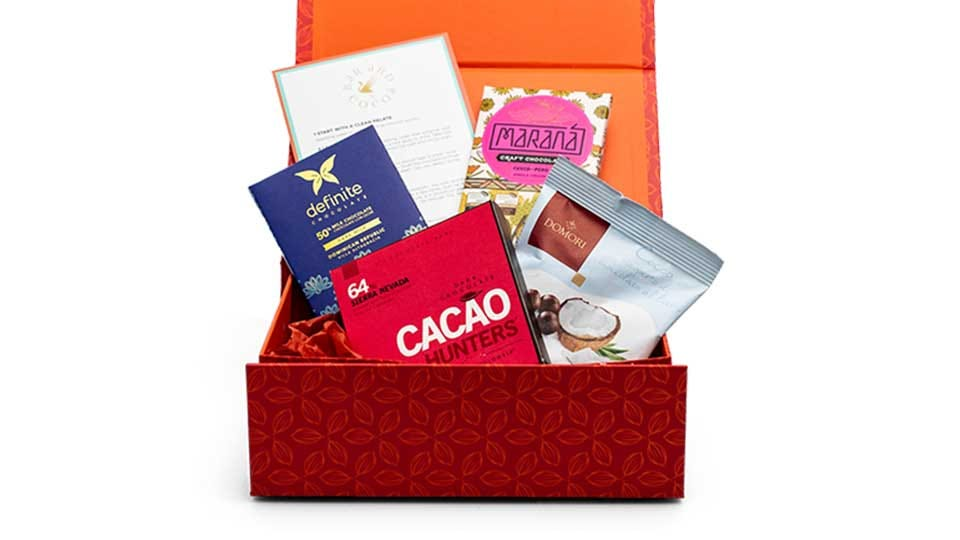 An example of the Bar & Cacao gift box.