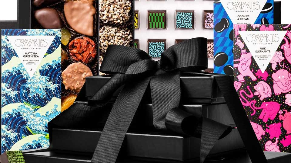 A selection of chocolate gifts from Compartes chocolatier.