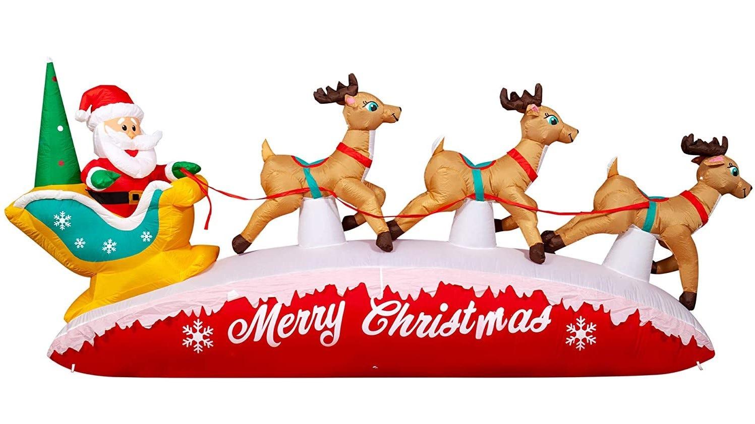 Santa and reindeer inflatable