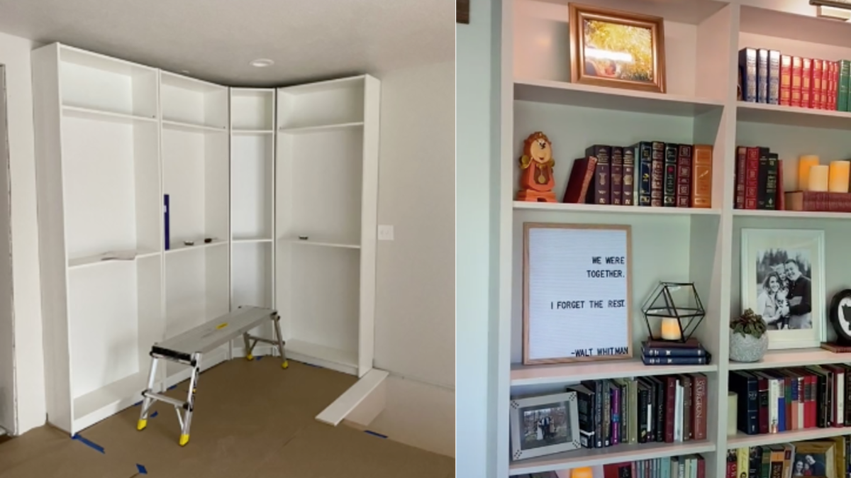 A set of white bookshelves are propped up against a wall and an after image show those bookshelves painted, attached to a wall, and filled with books.