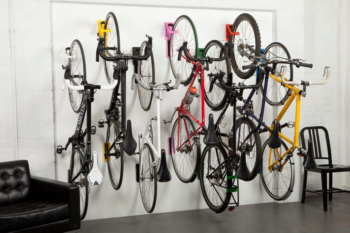 Seven bikes on a Cycloc Endo Bike Rack.
