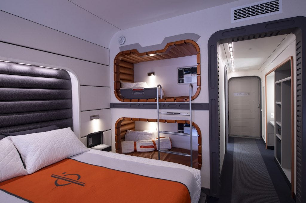 Disney's Star Wars hotel features orange and white decor and a futuristic design.