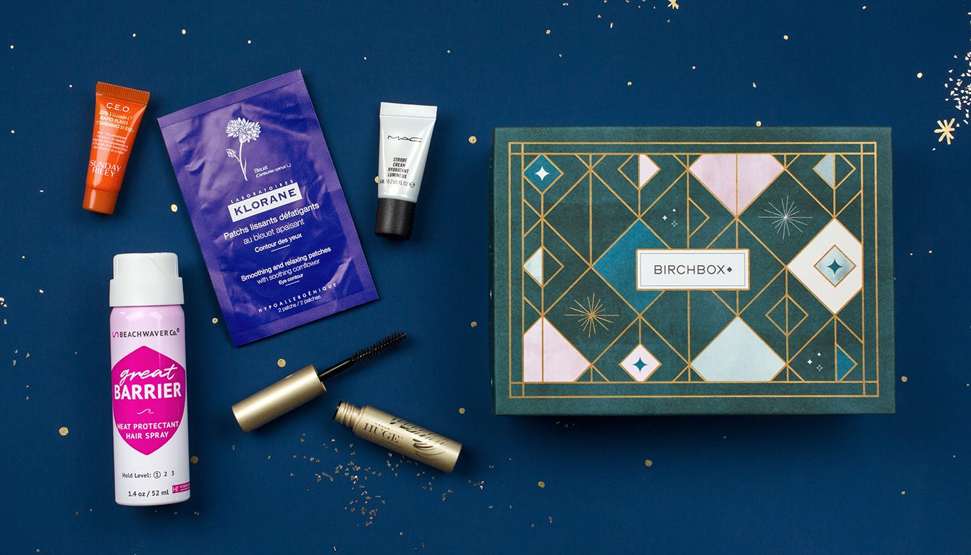 An example of the kind of content in a Birchbox makeup subscription box.