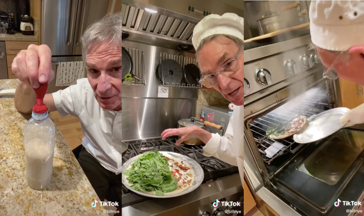 Bill Nye makes a pizza dough with water, sugar, yeast, a water bottle, and a balloon.