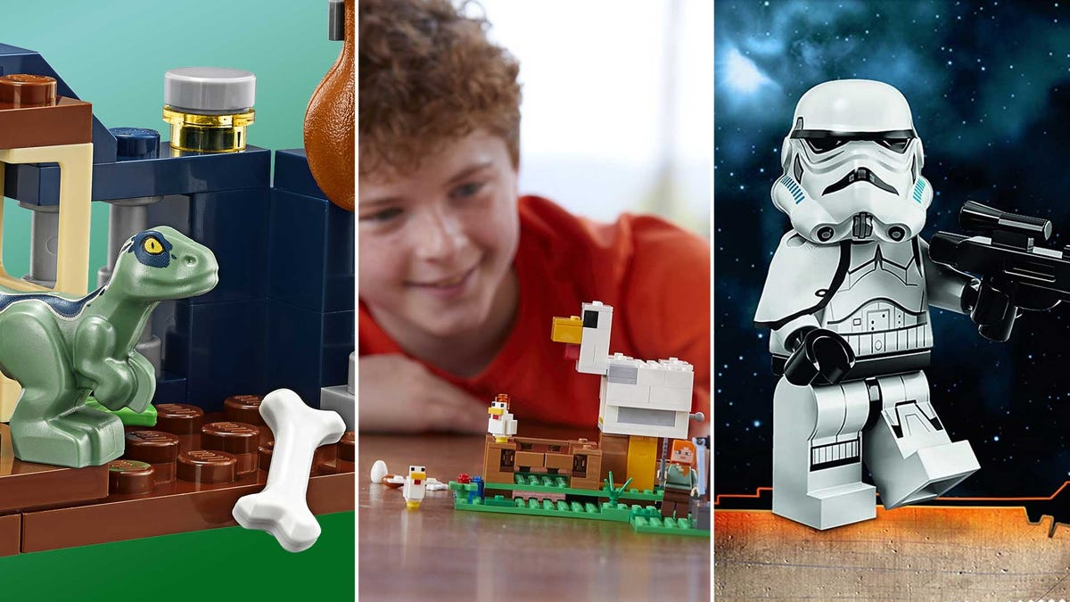 From left to right: a Jurassic Park, Minecraft, and Star Wars themed LEGO sets.