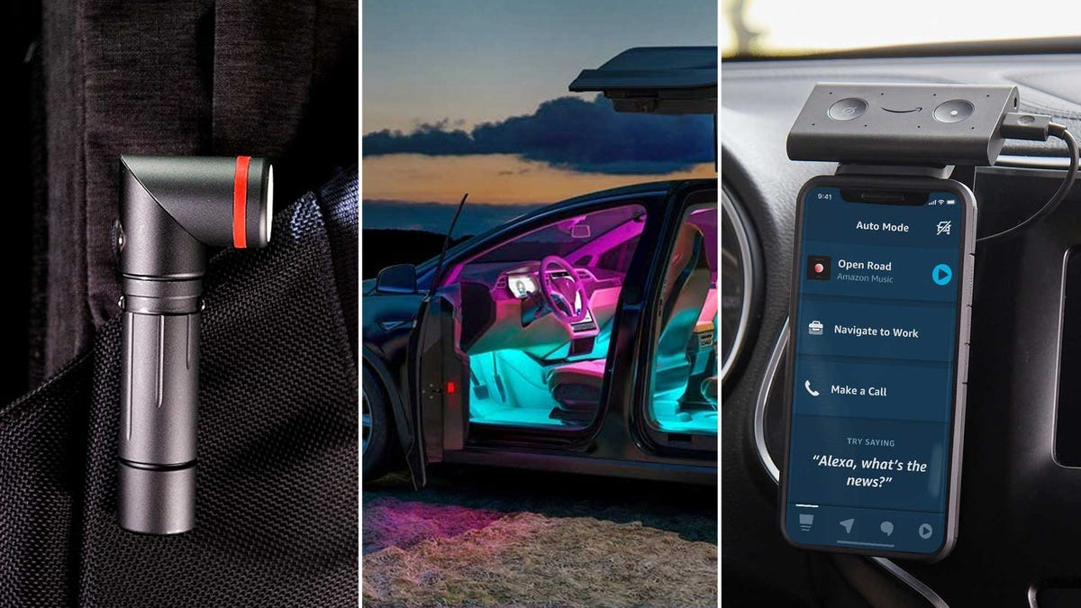From left to right: a high-intensity flashlight, LED ambient lighting for your car, and an Amazon Echo Auto in-car smart system.