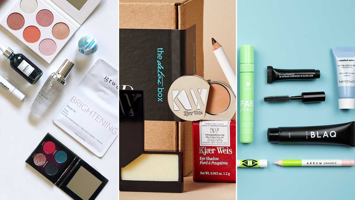 A variety of makeup and beauty subscription services with samples of their makeup and skincare products.