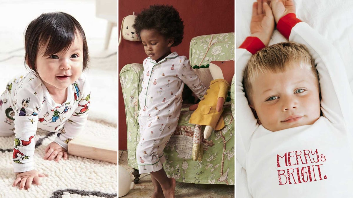 Happy toddlers wearing cute holiday pajamas.