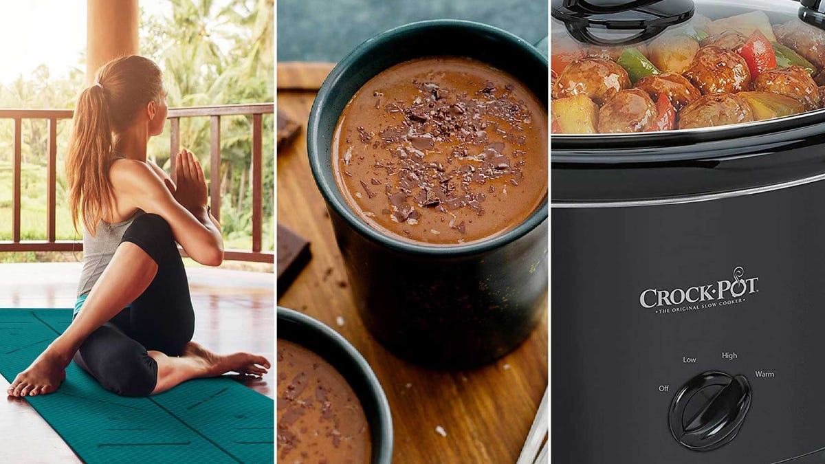From left to right: a yoga mat, organic dark chocolate, and a Crock Pot.