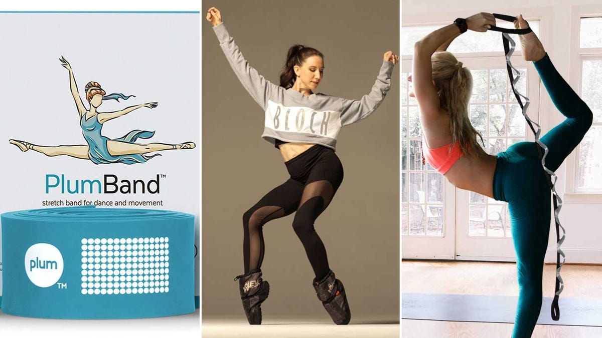 From left to right: an elastic stretching band, a woman dancing wearing warmup booties, and a woman stretching with a static loop band.