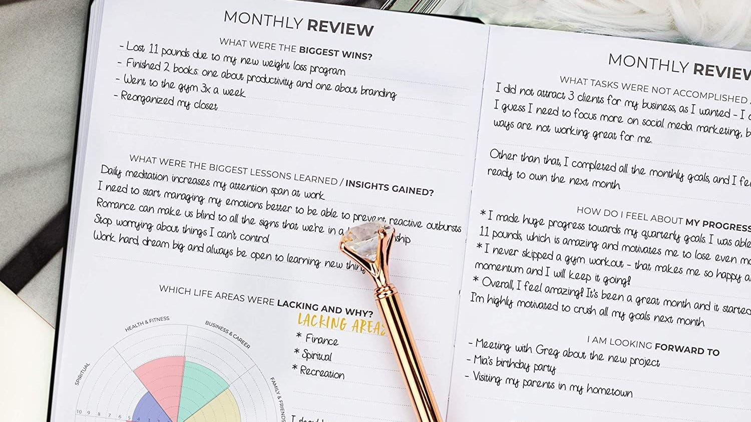 Some entries in the monthly review of a Clever Fox planner.