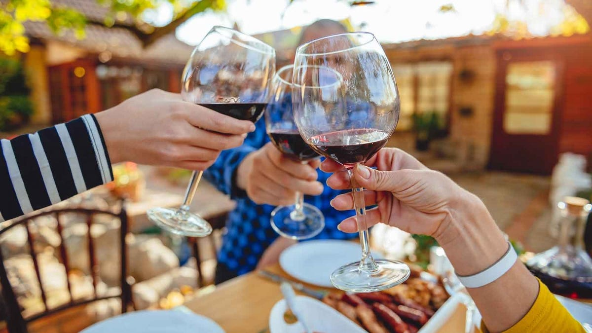 A group of people toast with wine glasses filled with red wine.
