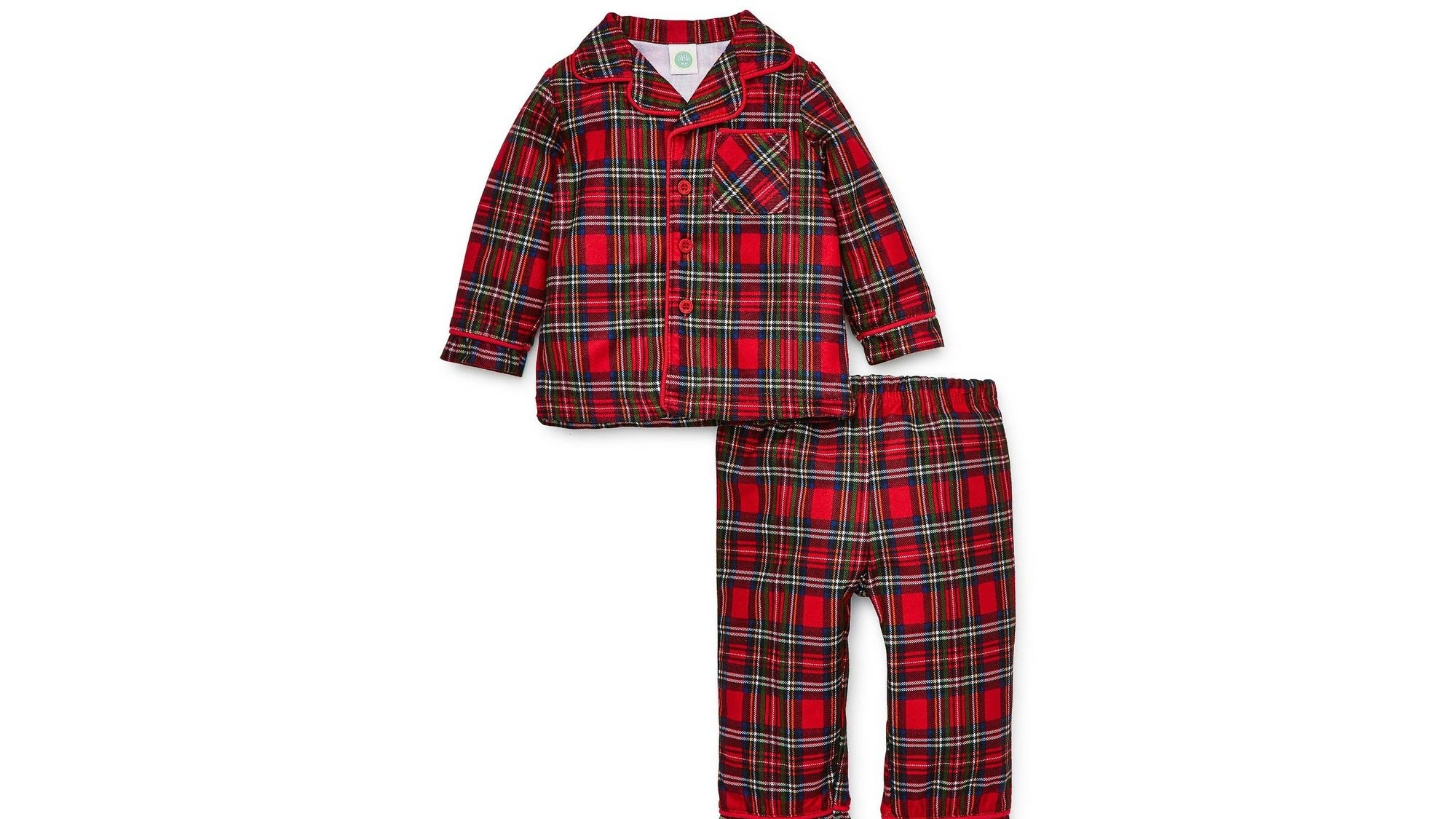 Little Me Holiday Plaid Collared Pajama Set