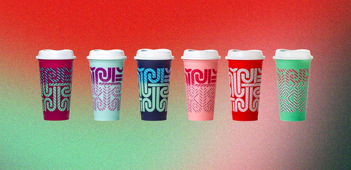 Six Starbucks color-changing holiday cups.