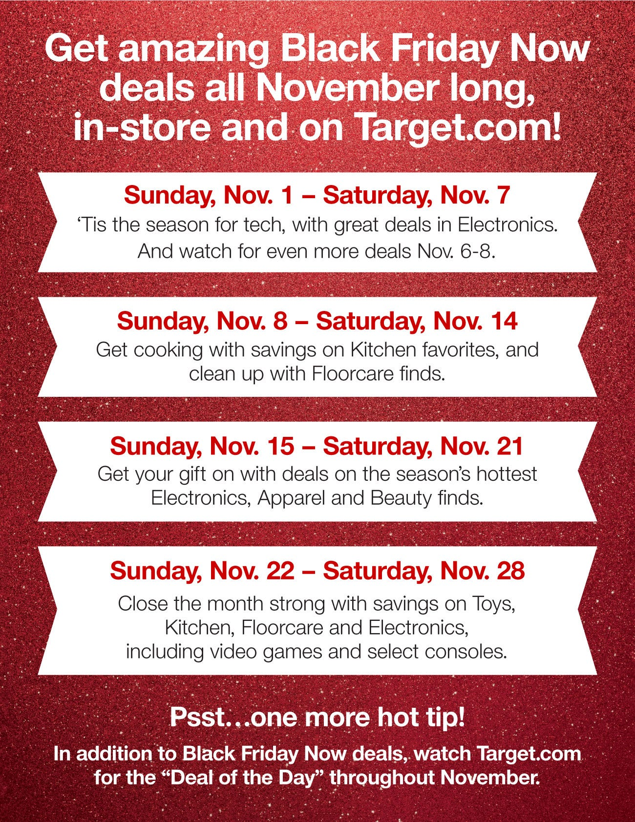 Target's November Black Friday deals outlined by week.