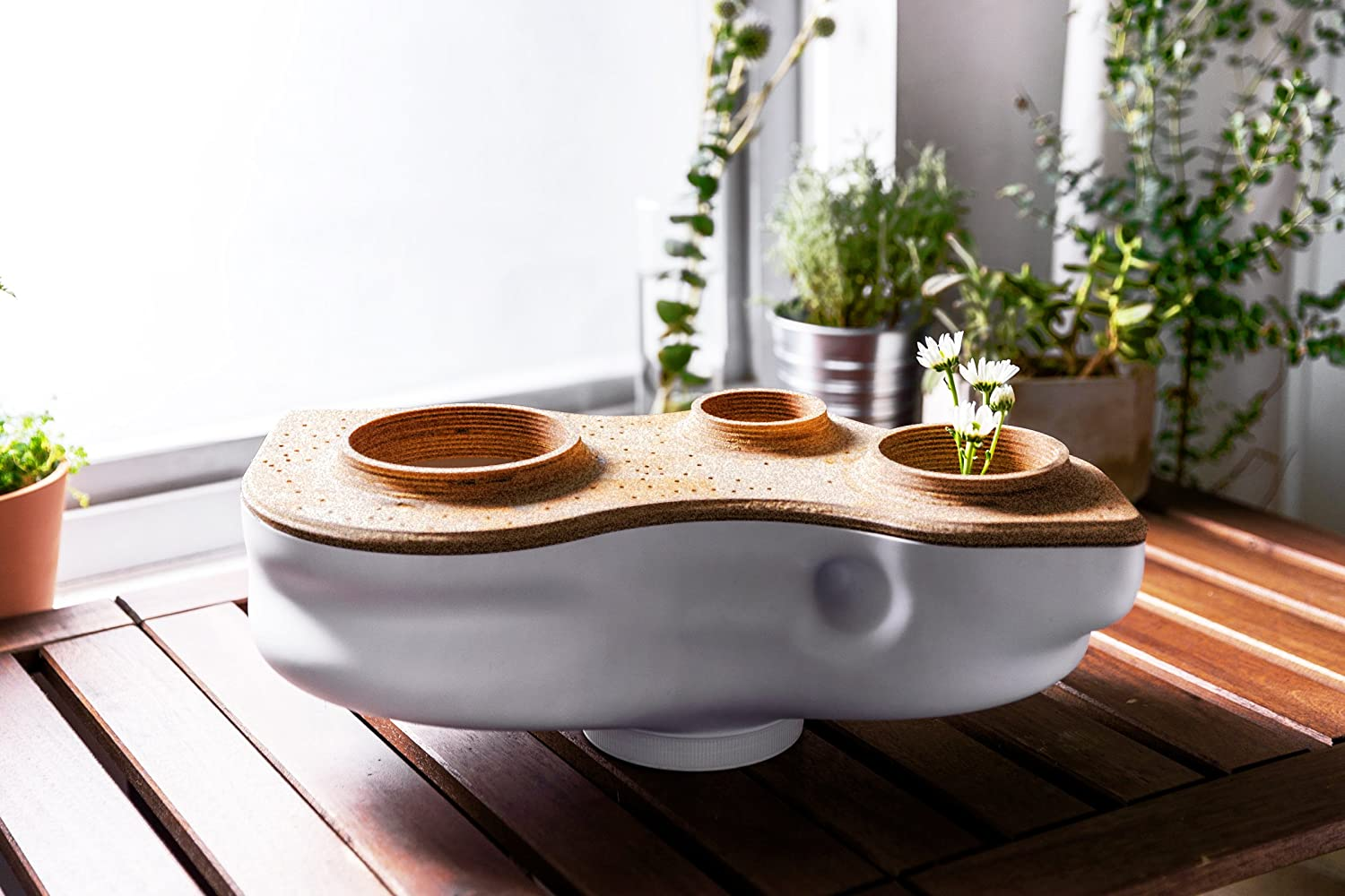 The Living Composter sitting on a wooden table next to houseplants.