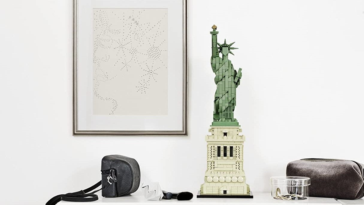 LEGO Statue of Liberty on table.