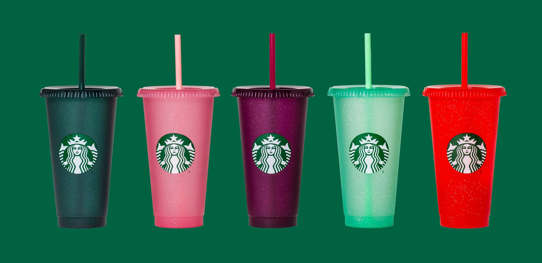 Five of Starbucks' holiday cold cups.