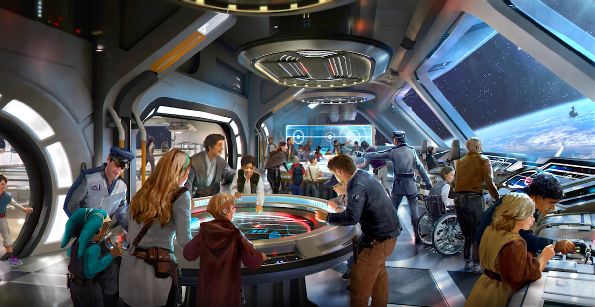 An artist's rendering shows guests gathering in the atrium of the Star Wars hotel.