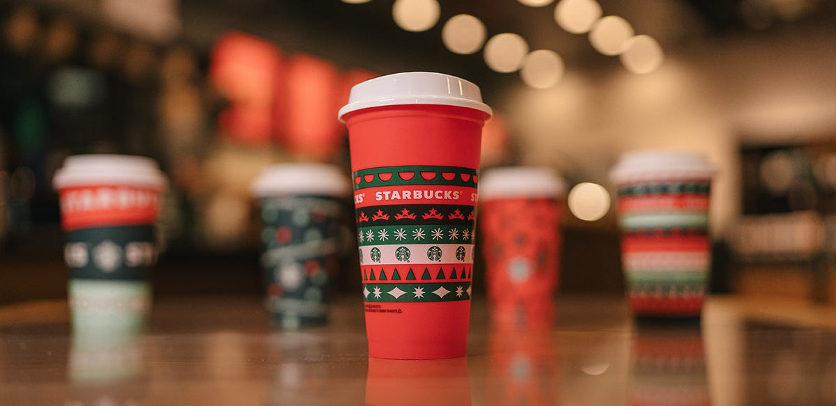 Starbucks' is giving out red holiday-patterned cups on Nov. 6.