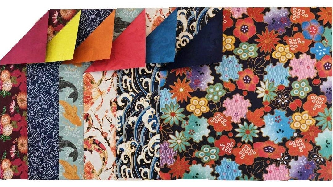 Some of the different designs of double-sided origami paper.