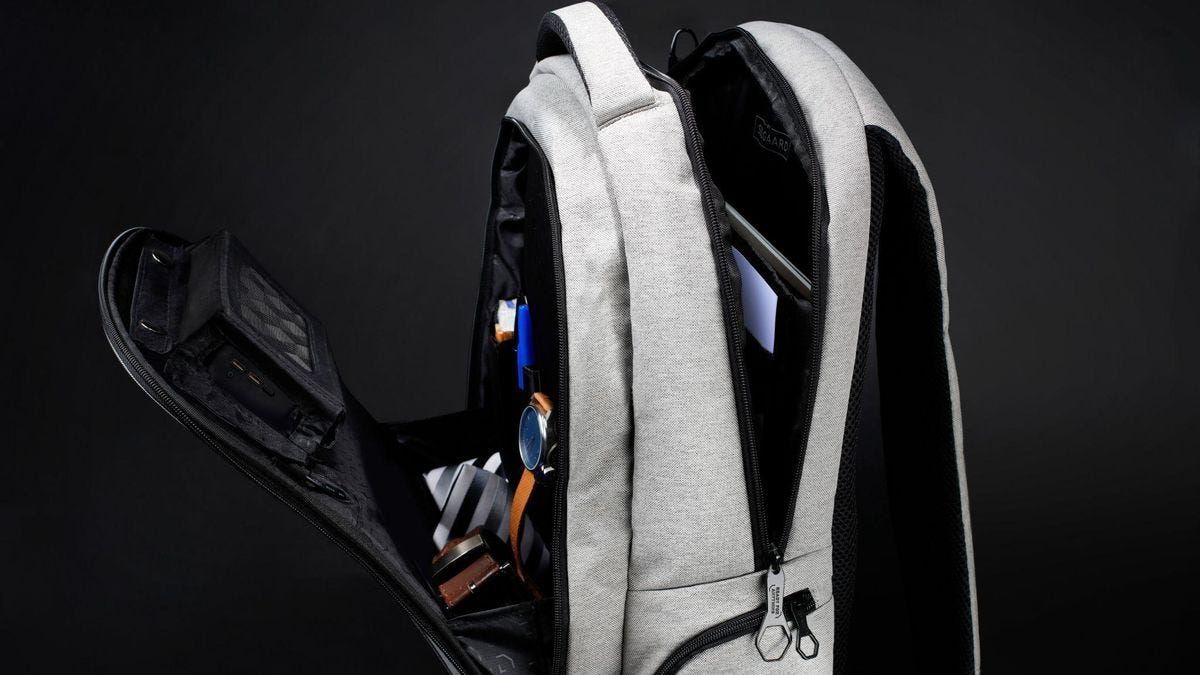 The Lifepack Sustainable Backpack in light gray.