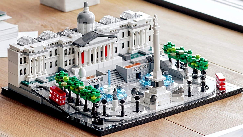 Trafalgar Square LEGO replica on a table.
