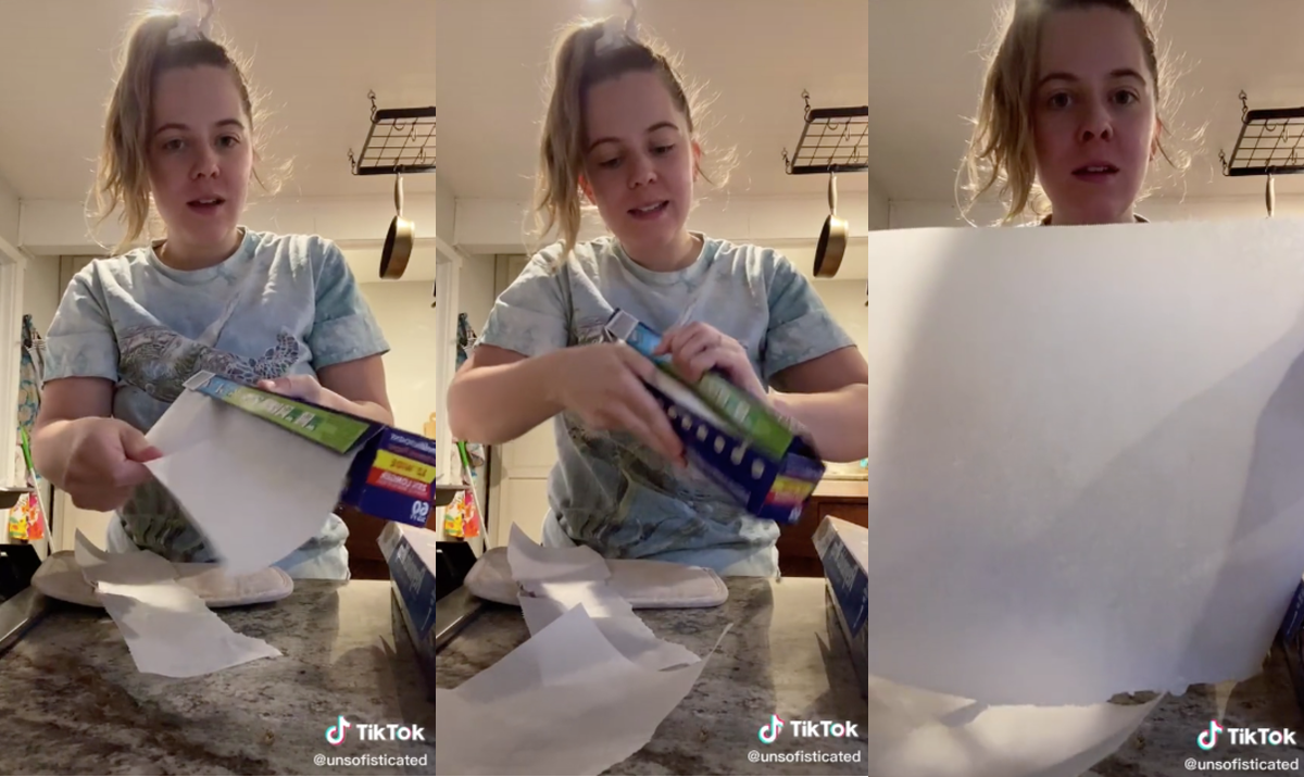 Three photos show a woman tearing a piece of parchment paper cleanly from the roll.