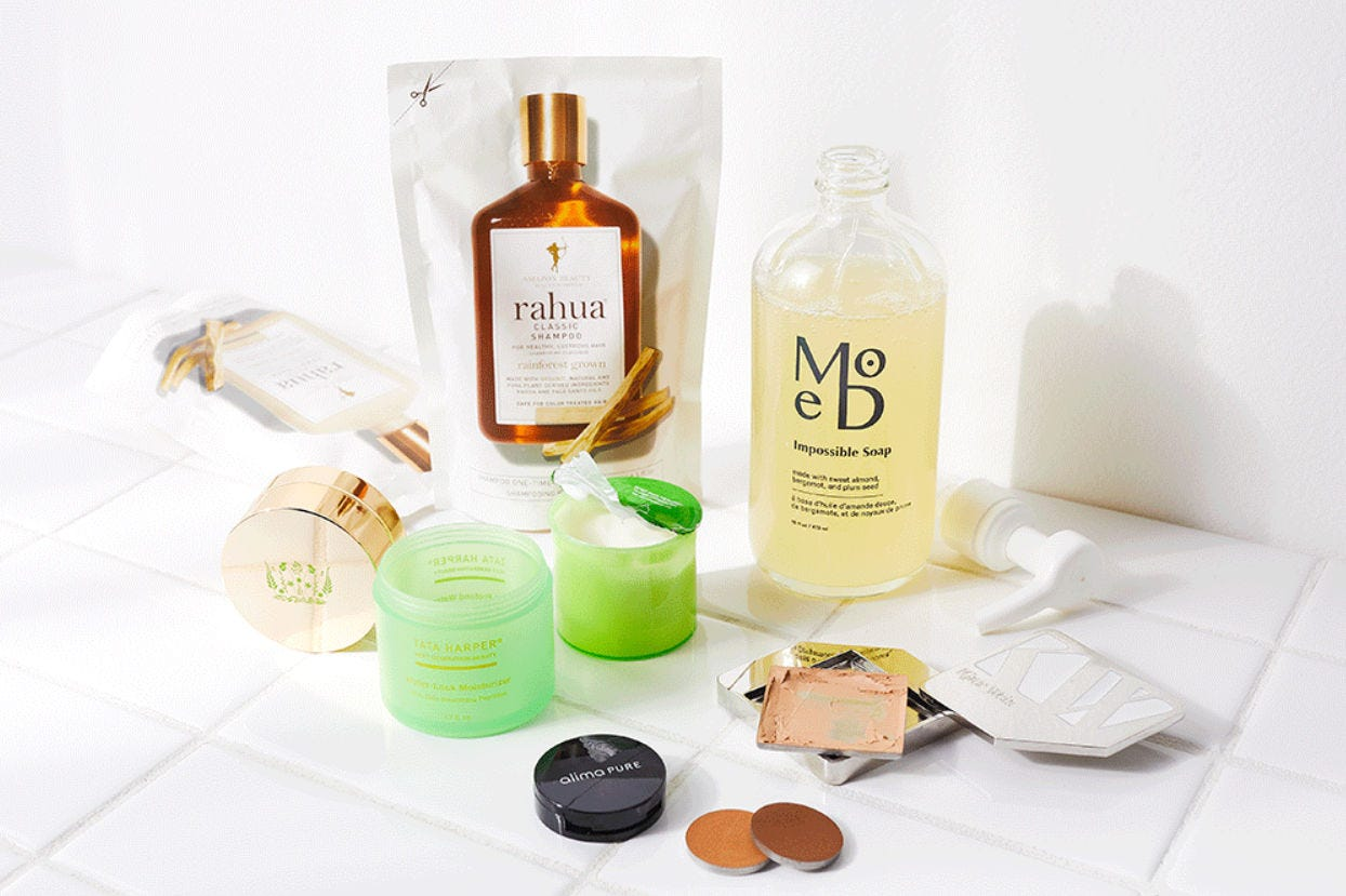A collection of healthy skincare items in a 'Detox Market' gift box.