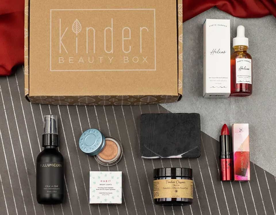 Different examples of the makeup and products in a Kinder Beauty box.