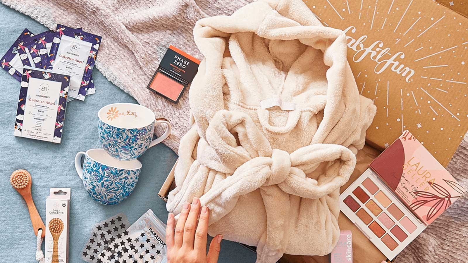 An example of the kind of fun stuff, like teacups, makeup, and bath robes, you'll find in a FabFitFun box.